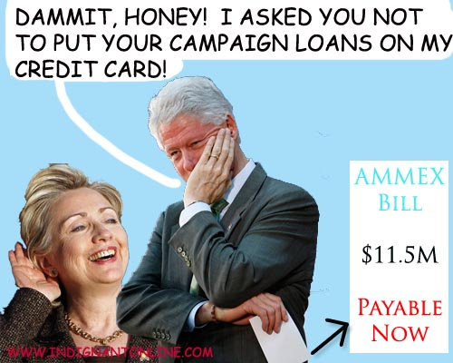 Hillary Clinton puts her campaign loans on Bill's credit card.